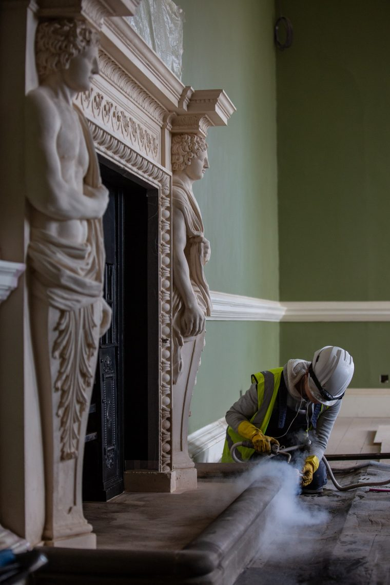 Conservation of fireplaces at Auckland Castle