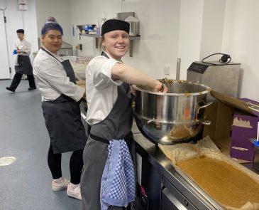Charlotte and Francesca baking