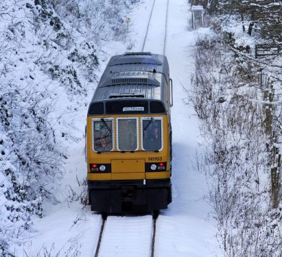 A train in the snow